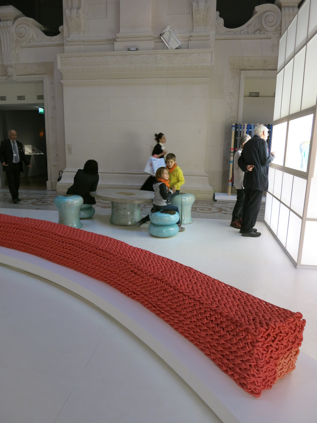 Musee des Art Decoratifs, Paris. 'Korea Now' exhibition 2015. The knitted curved seat was designed by Lee Kwang-ho.