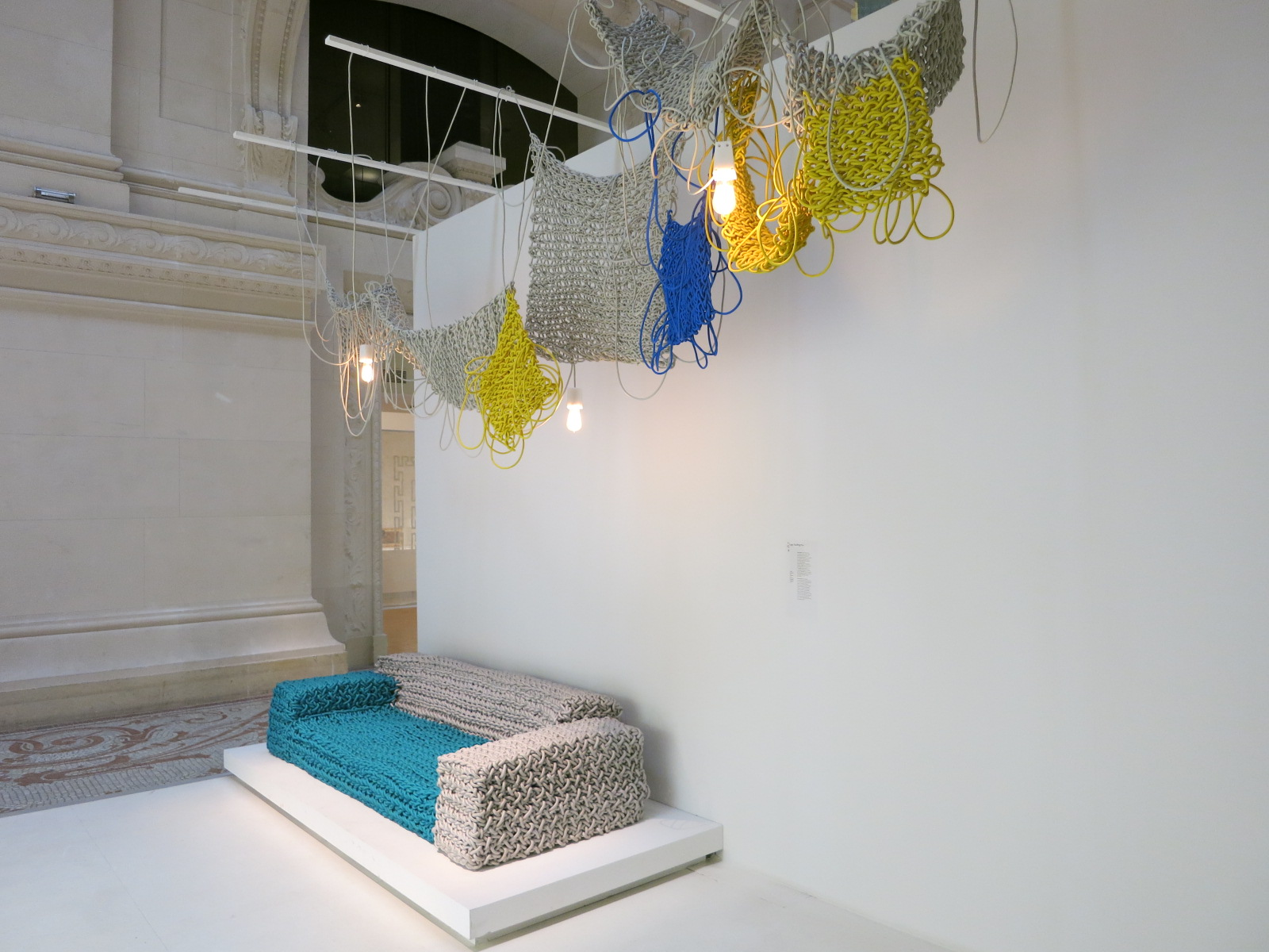 Musee des Art Decoratifs, Paris. 'Korea Now' exhibition 2015. The knitted sofa was designed by Lee Kwang-ho.
