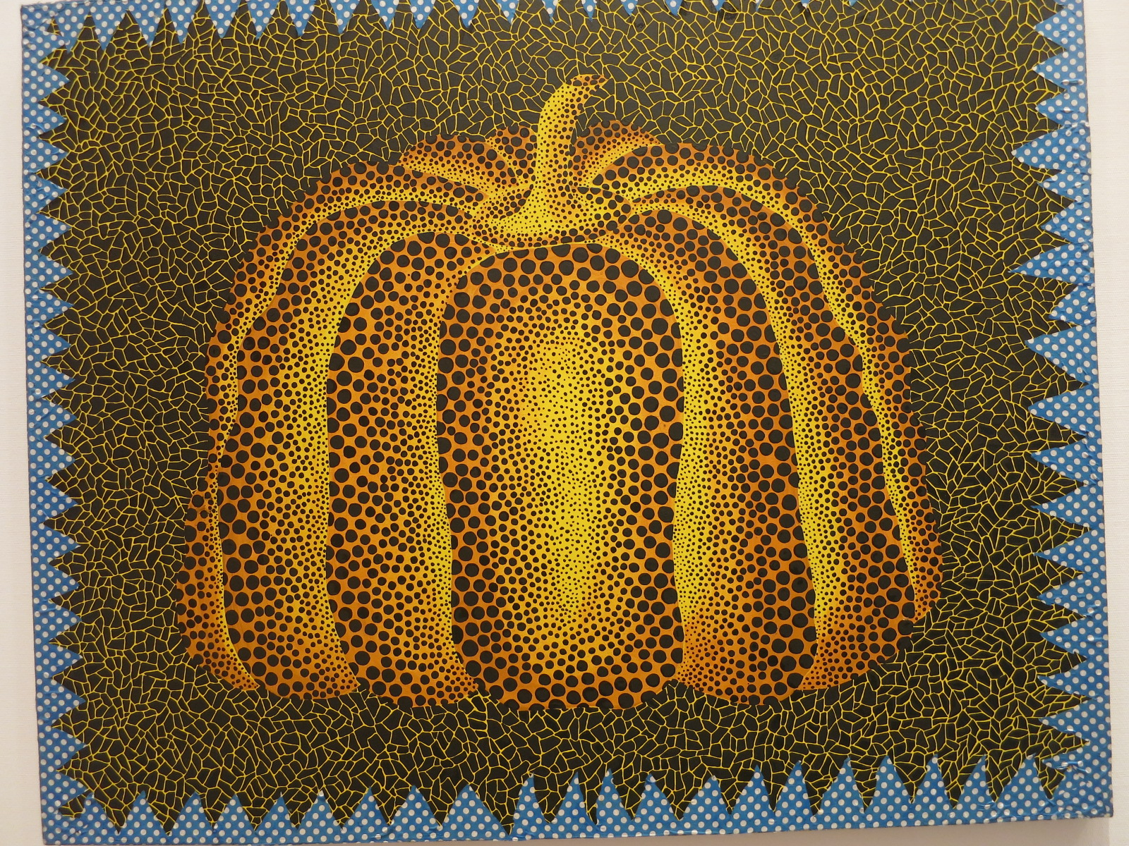 Yayoi Kusama's 1980s works in the In Infinity Retrospective at the Louisiana Museum of Modern Art, Denmark 2015. 'Pumpkin' 1980. Acrylic paint and printed fabric.