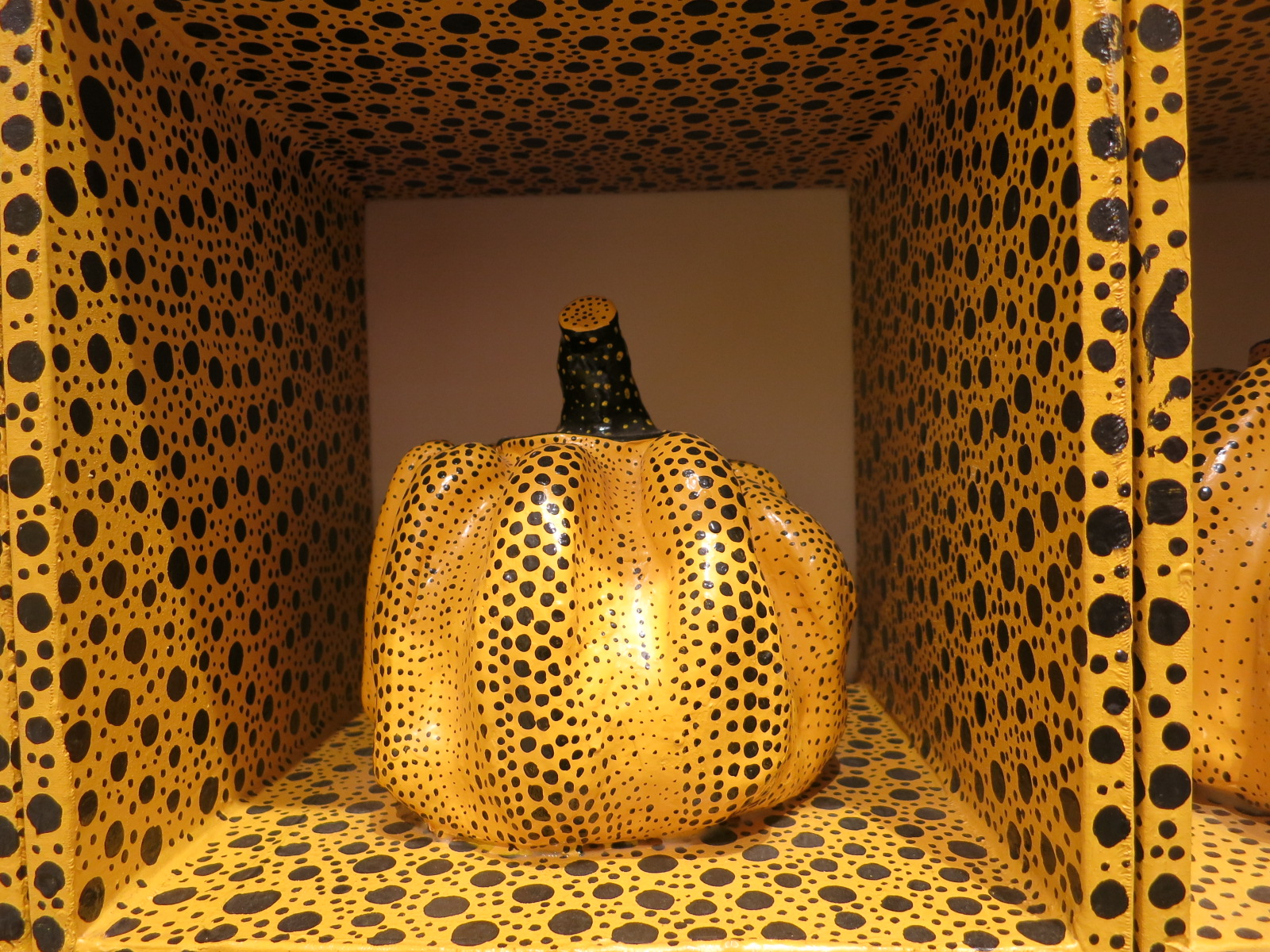 Yayoi Kusama's 1980s works in the In Infinity Retrospective at the Louisiana Museum of Modern Art, Denmark 2015. A detail of 'Pumpkin Night' 1985