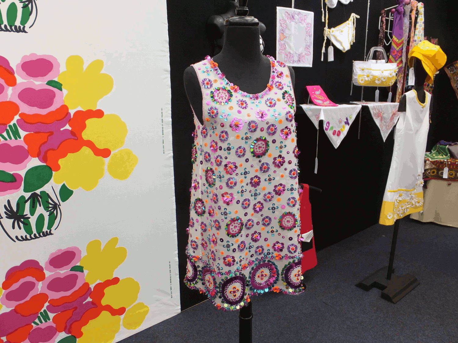 The Embroiderers' Guild N.S.W's Feature Space in the Craft & Quilt Fair at Darling Harbour, 2016. The theme was Carnaby Street in the 1960's. Mary was the art director for this installation. Pieces were worked by Embroiderers' Guild members.