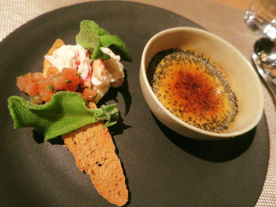 4. Foie gras crème brûlée, King crab crostini, Crystalline ice plant.jpg