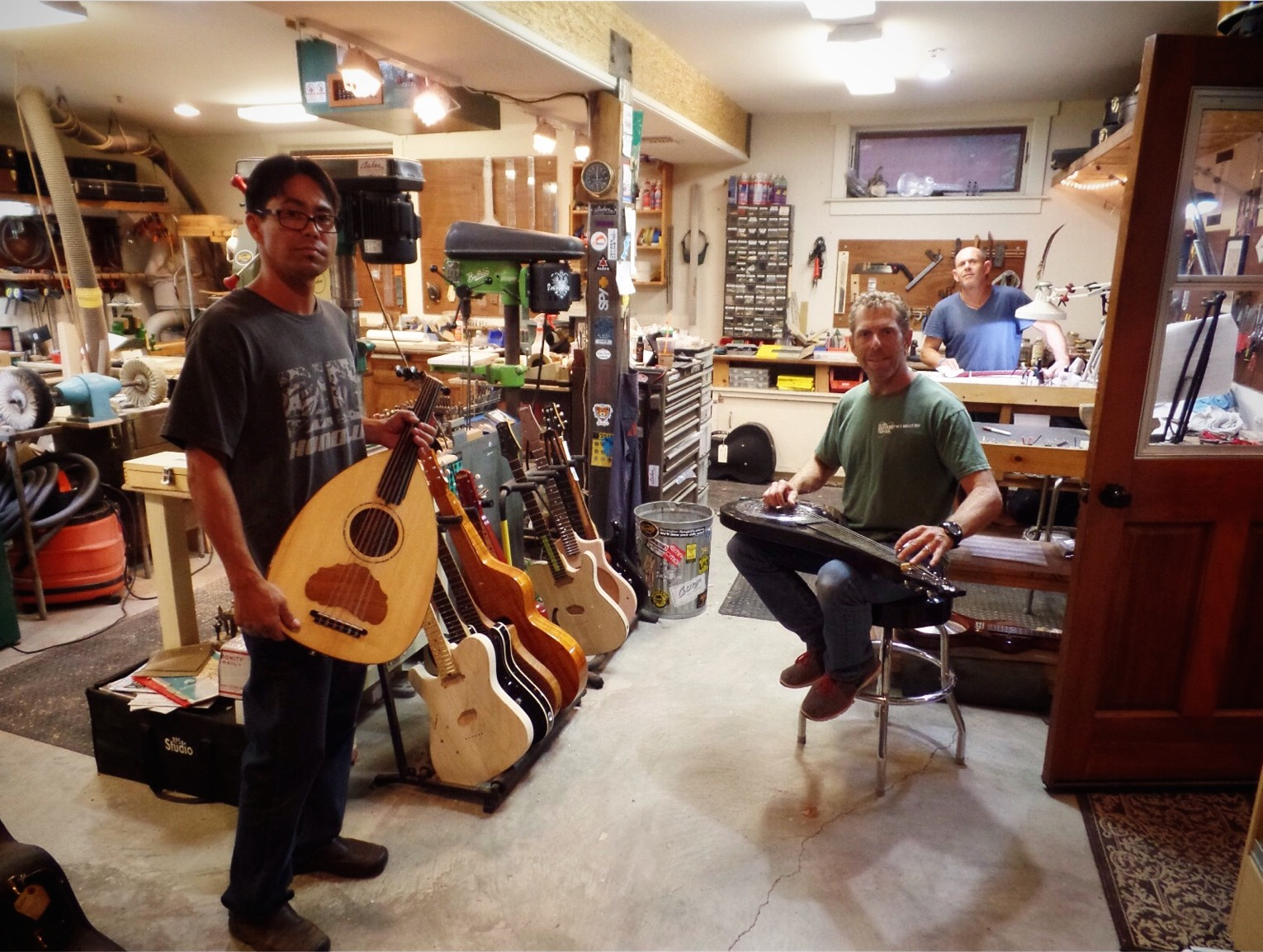 Bill and the gang checking out some of my creations in the Asher shop.