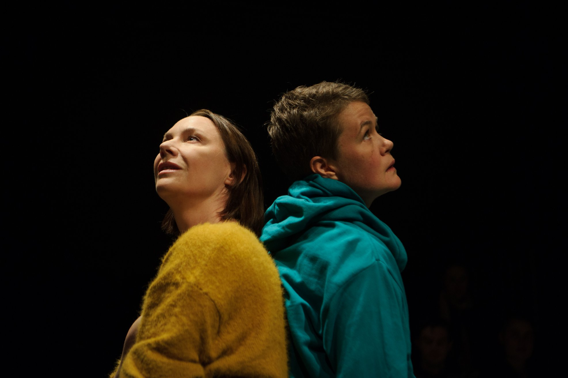 Belinda McClory  and  Emily Tomlins ,   my sister feather  , La Mama Courthouse 2018. Image by  Sarah Walker