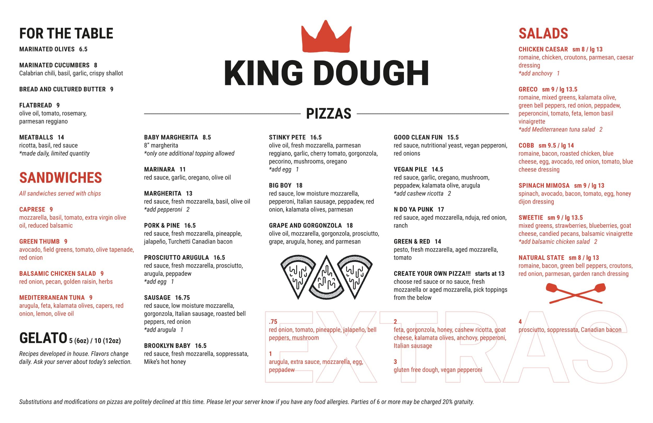 King Dough Bloomington Menu