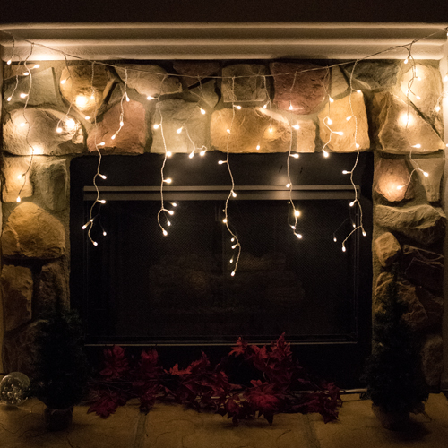 """""""Icicle"""" LED lights in Warm White."""