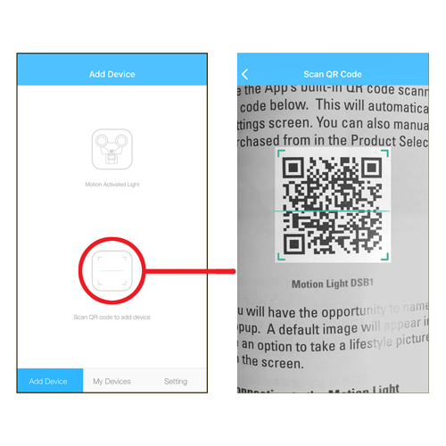 """To automatically select your light, tap on the """"Scan QR code to add device"""" icon. The App will activate your smartphone camera. Point it at the appropriate QR code in the instruction manual or on the Quick Start Guide."""