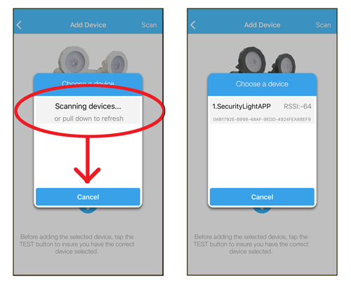 """Slide the gray """"Scanning devices..."""" button down to scan for your light. When the light is found (""""1.SecurityLightAPP"""" in our example here), select it."""
