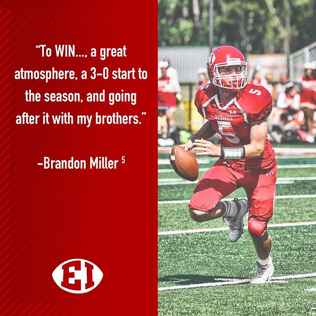 We asked QB1 Brandon Miller what he is looking forward to homecoming weekend #qb1 #redmen #homecoming #biggerhearts