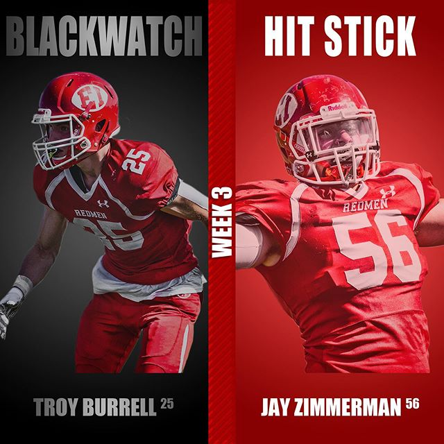 This weeks BLACKWATCH and HIT STICK players of the week! #redmen #blackwatch #hitstick #biggerhearts @sportsrushn12