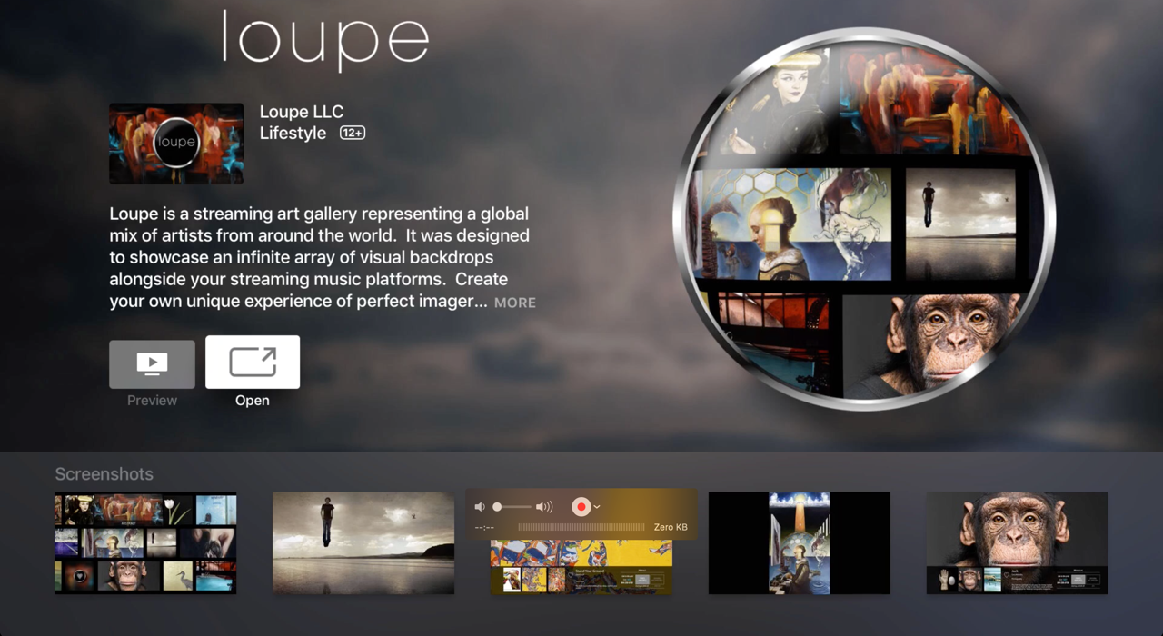Download Loupe for free on the Apple TV app store on any Apple TV 4th generation or higher.