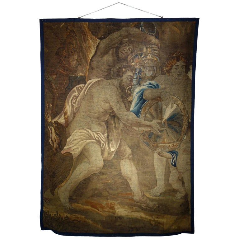 Early 17th Century Flemish Tapestry Fragment of Vulcan the Roman God of Fire