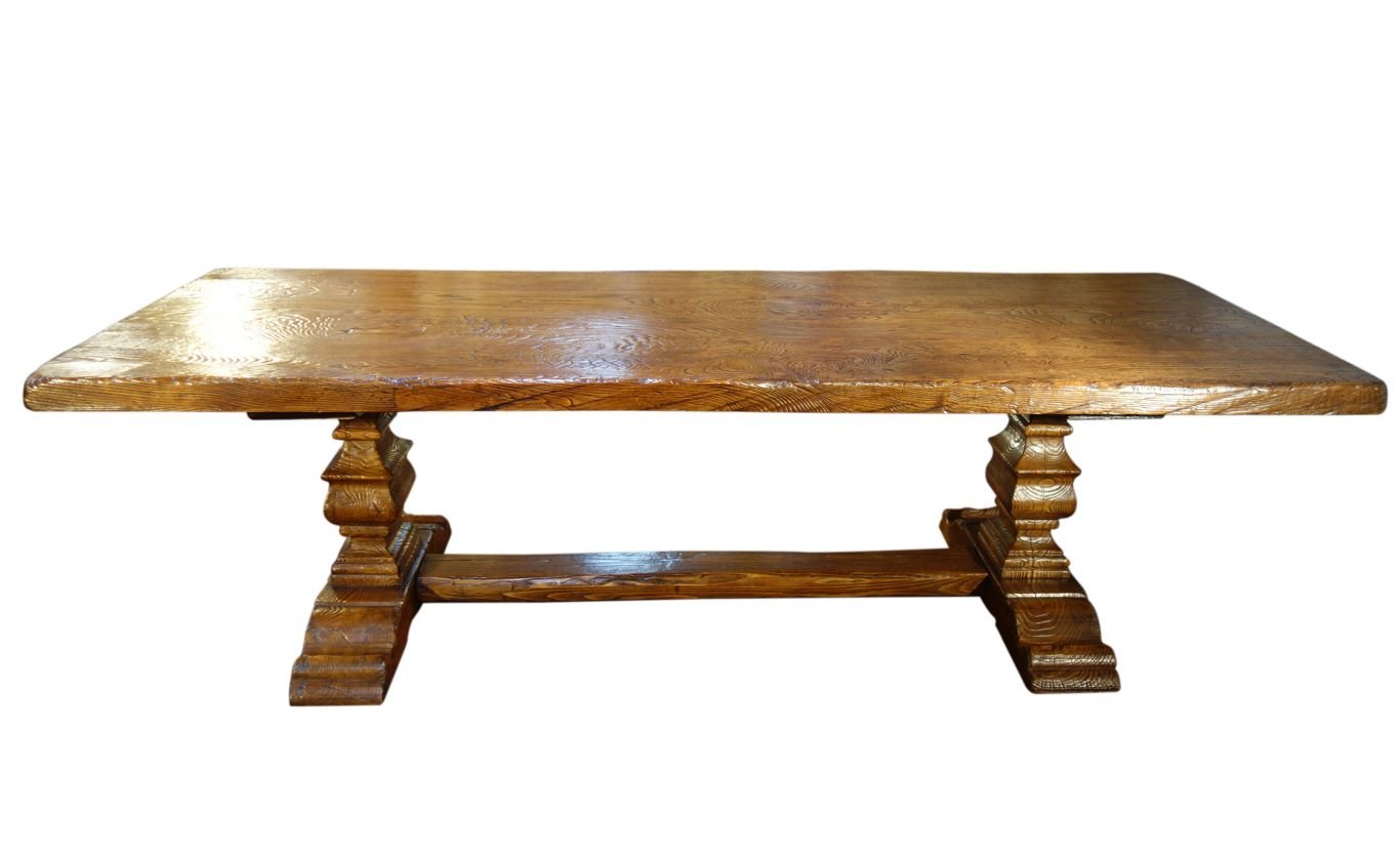 """BALAUSTRA - 109"""" Authentic Ancient Solid Slab Chestnut Italian Antique Reproduction 2 Pedestal Table"""