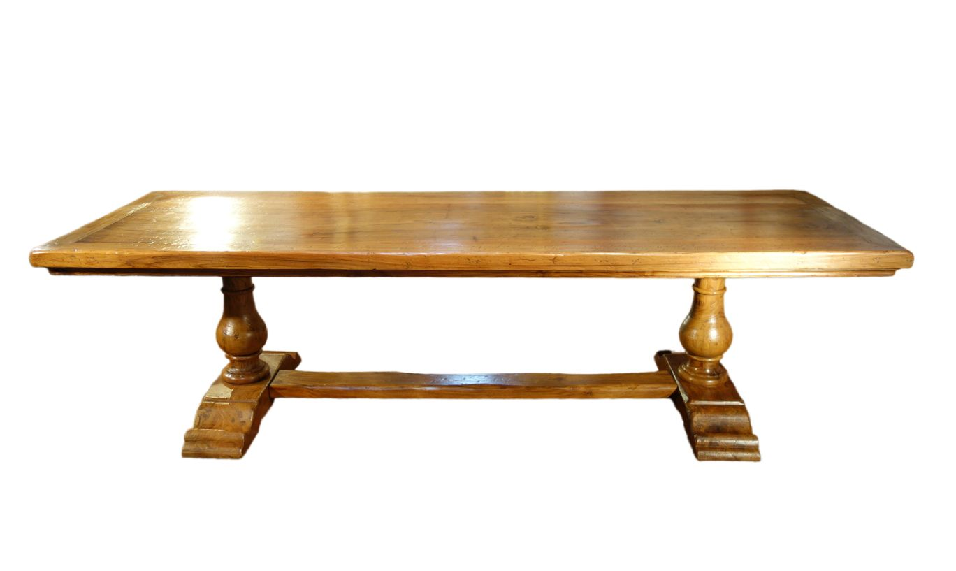 "BOCCI - 112"" Antique Italian Reproduction 2 Pedestal Old Walnut Table in Natural Finish"