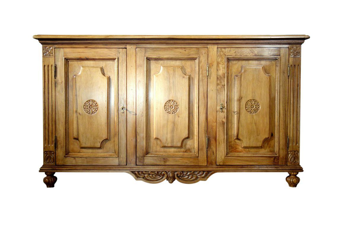 VENEZIA - Authentic Italian Antique Reproduction Mediterranean Old Walnut Credenza