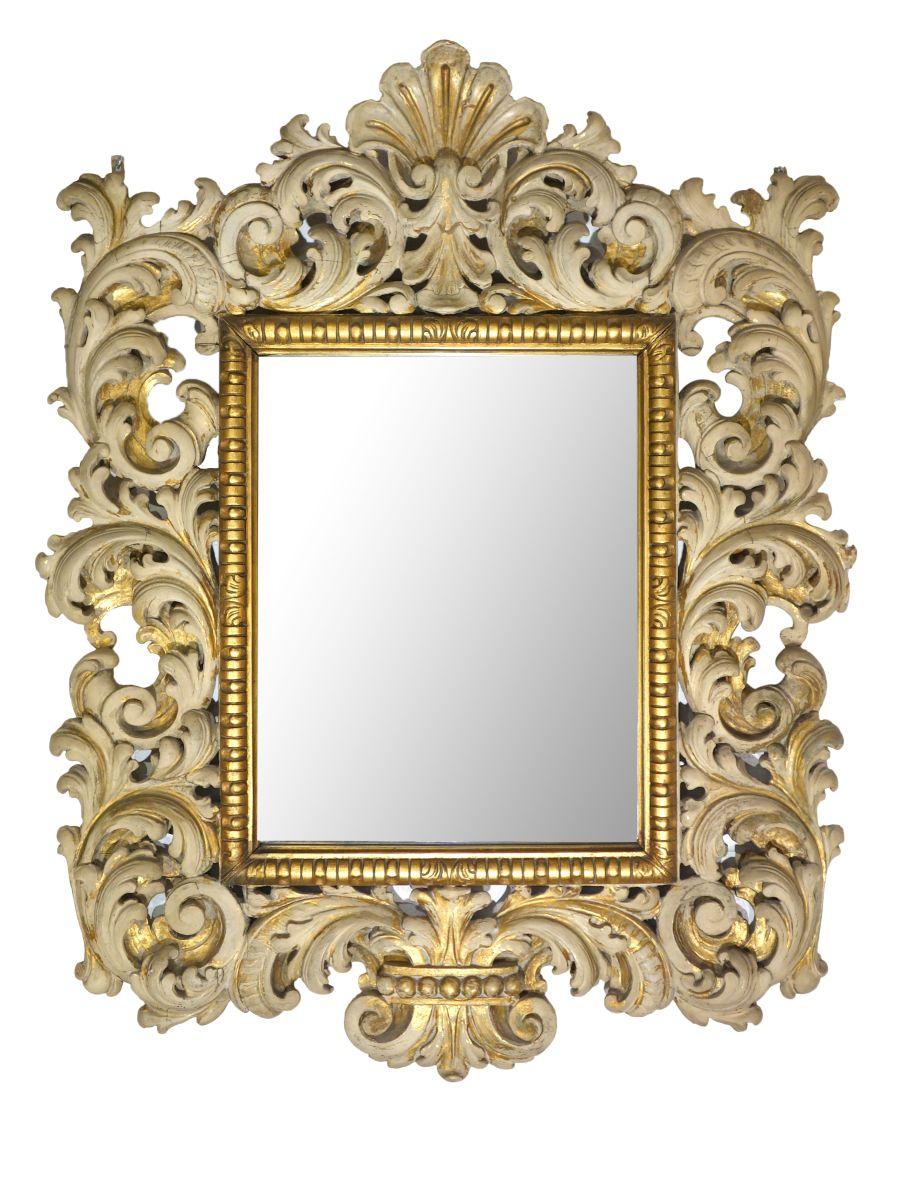 19th Century Antique Italian Carved Giltwood Baroque Mirror Ca 1890