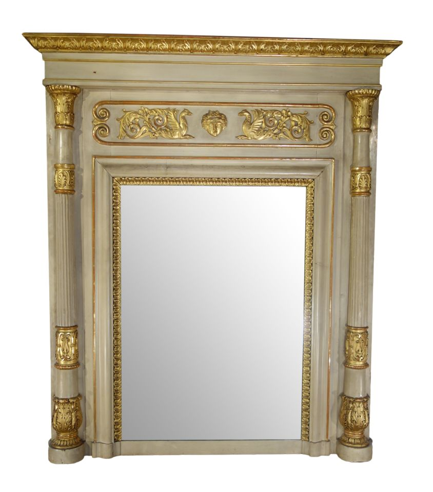 Early 19th Century Italian Neoclassical Style Giltwood Trumeau Fireplace Mirror Ca 1820