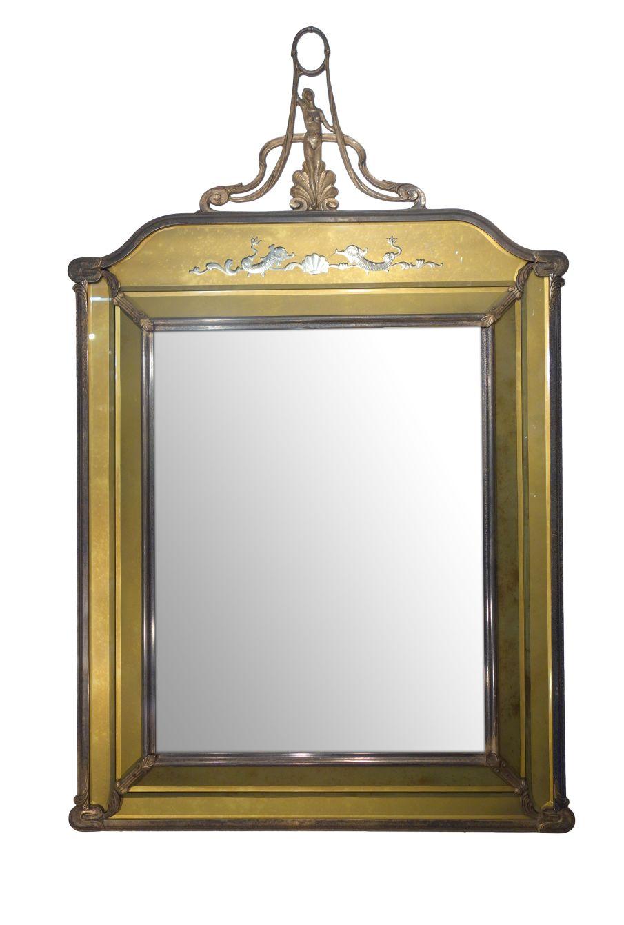 19th Century Antique Italian Nouveau Liberty Style Facet Engraved Metal Mirror Ca 1890