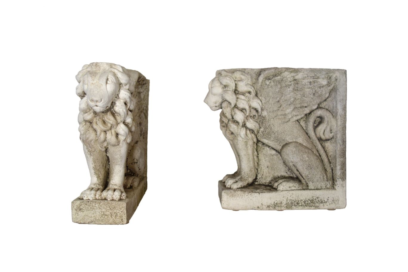 Antique Italian Pair of Winged Lions Statuary Bases from Lake Como Circa 1910
