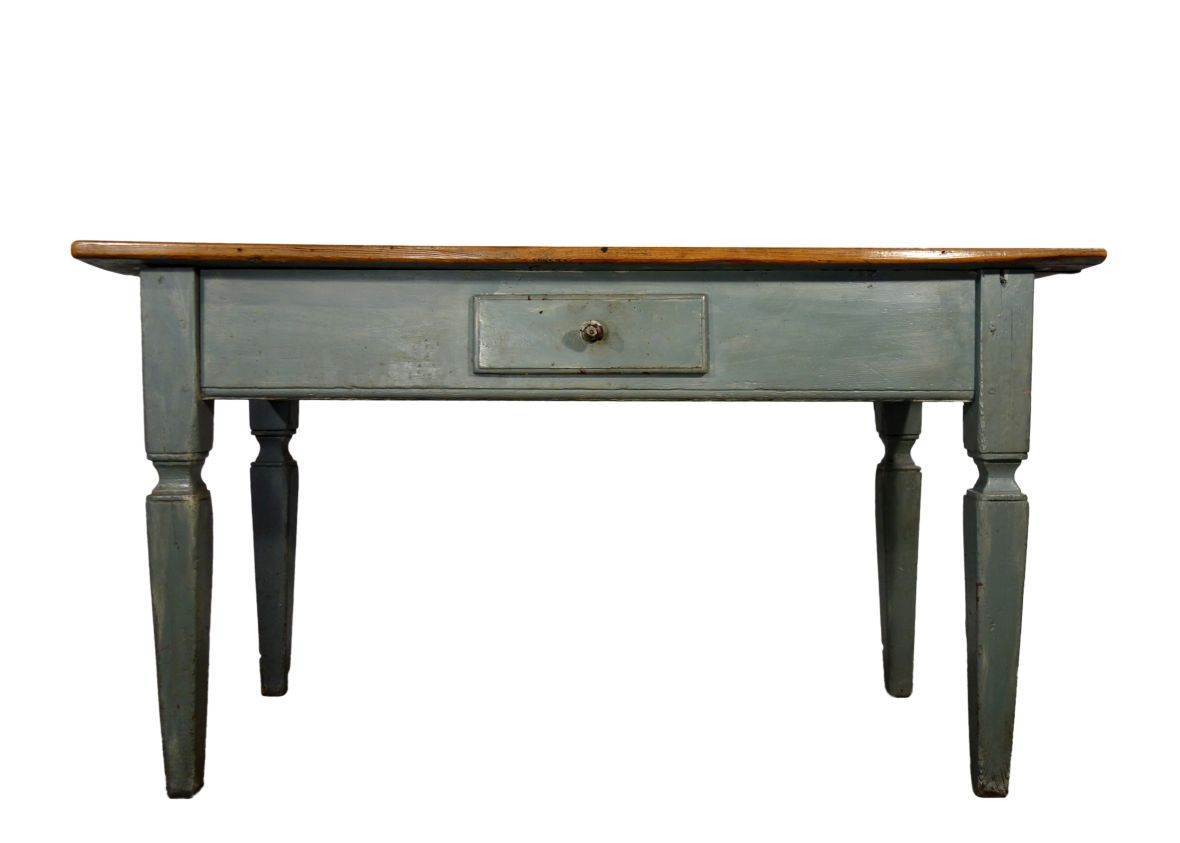 Antique Italian Blue Lacquered Table with Plank top and Drawer