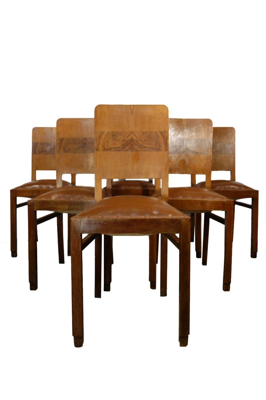 Mid Century Italian Side Chair with Veneer back, Set of 6