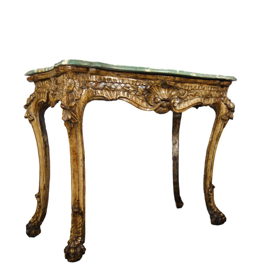 18th Century Italian Roman Baroque Mecca Silver Gold Gilted Formal Console Table with Malachite Marble top