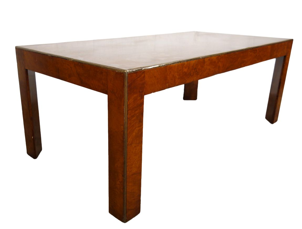 Mid Century Italian Burled Veneer Walnut Parson Modern Minimal Coffee Table with Brass Edging 1950