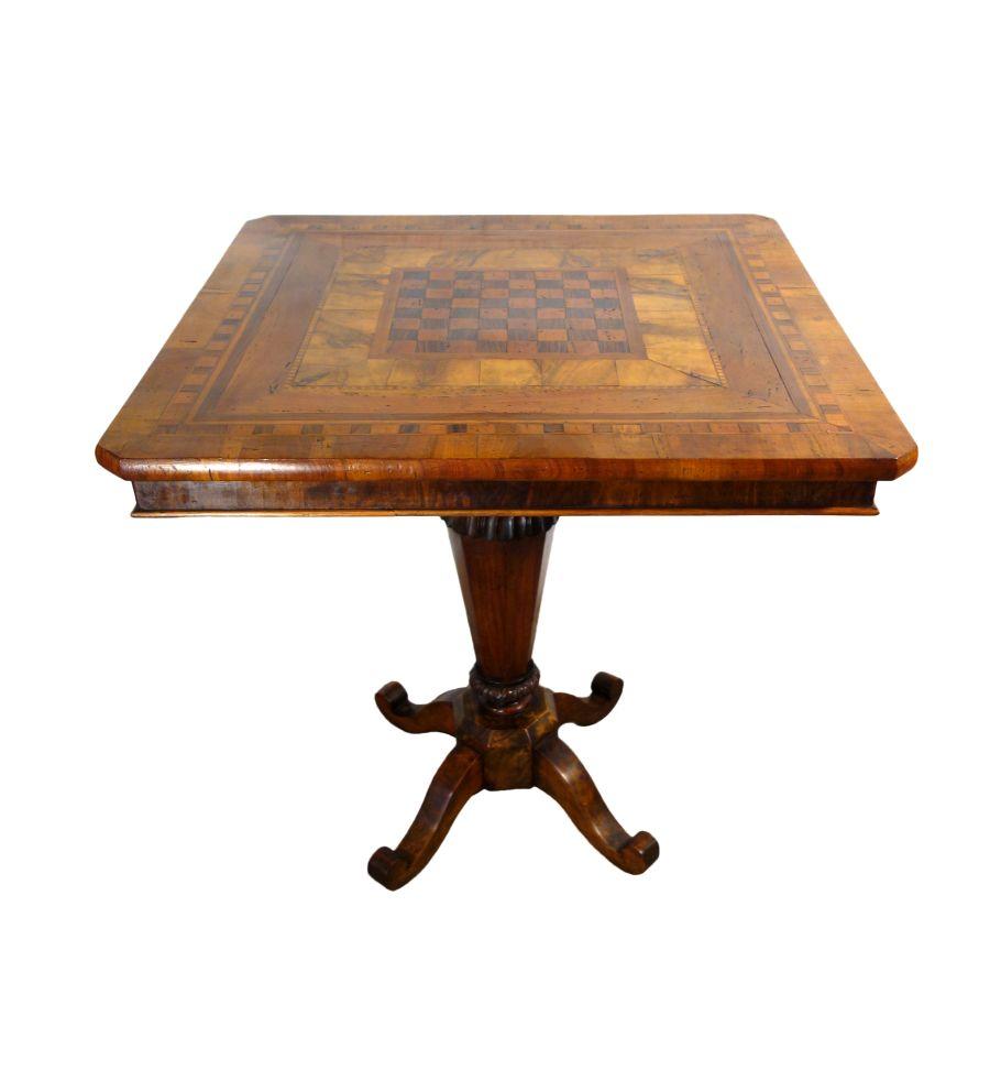 Antique Italian Venetian Louis XVI Walnut Burl & Inlaid Veneer Table for Entry, Cards, or Games