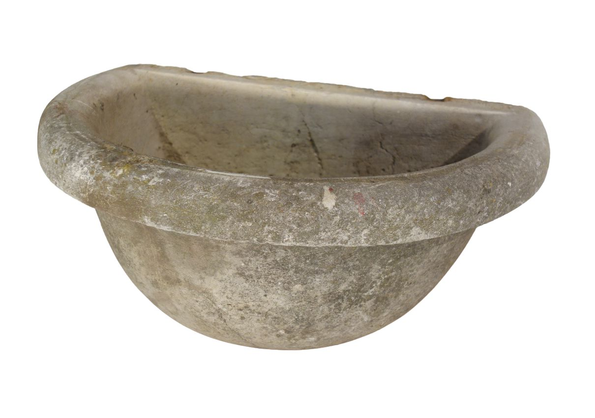 Antique Italian Rustic Hand Carved Stone Sink Basin Circa 1905