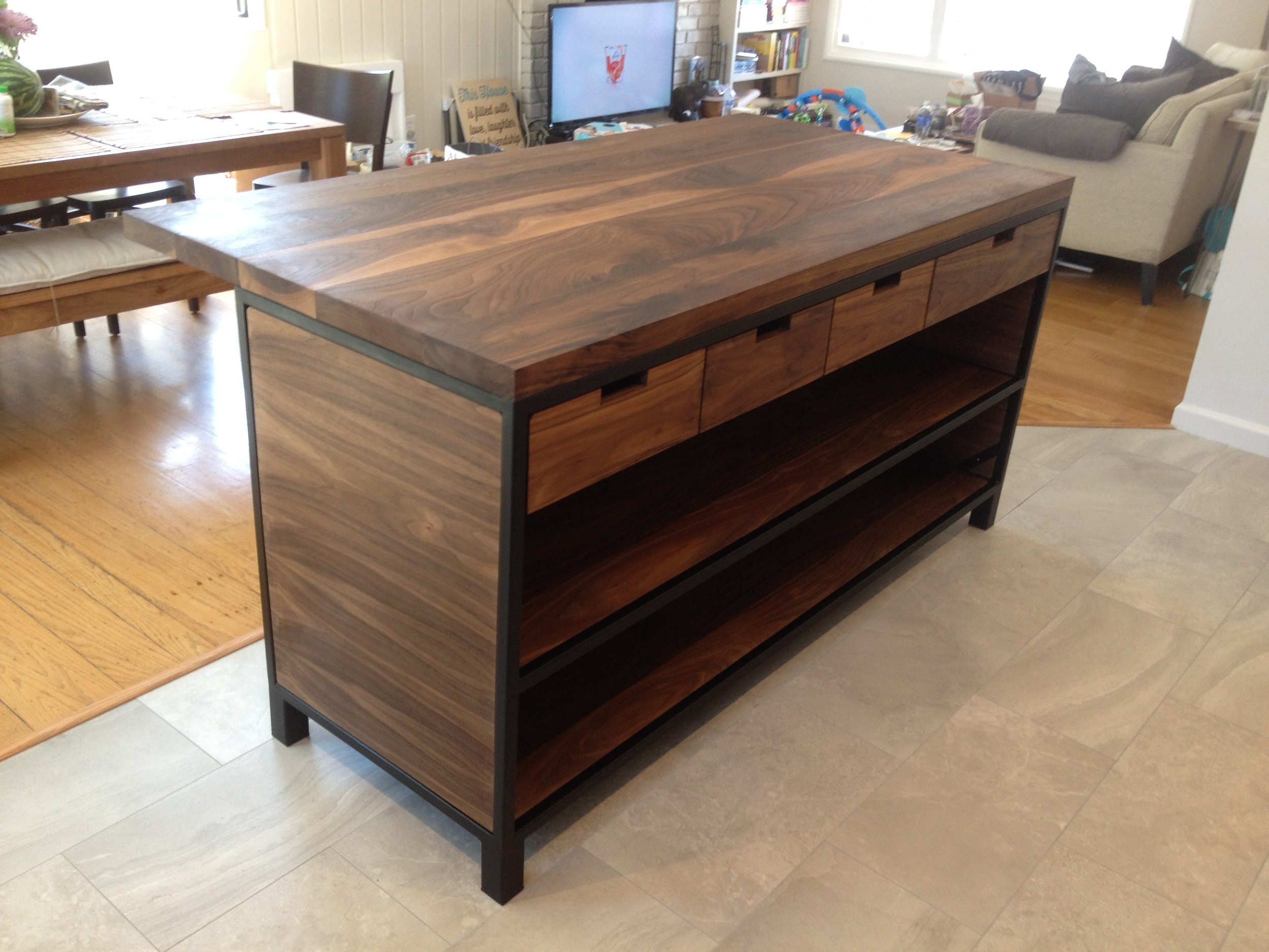 walnut and steel kitchen island