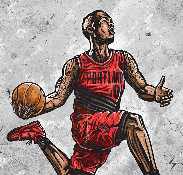 Now with color. But not done yet! . . #ripcity #blazers #trailblazers #portlandtrailblazers #portland #portlandbasketball #portlandproud #dame #damedolla #damianlillard #lillard  #nbaart #blazersfan #illustration #illustrators #designinspiration #basketballart #streetartist #4barfriday #ballislife #ballerart #inking #ink #sharpieart #illustratorlife #slam #slamdunk #gamewinner #dametime #digitalpainting