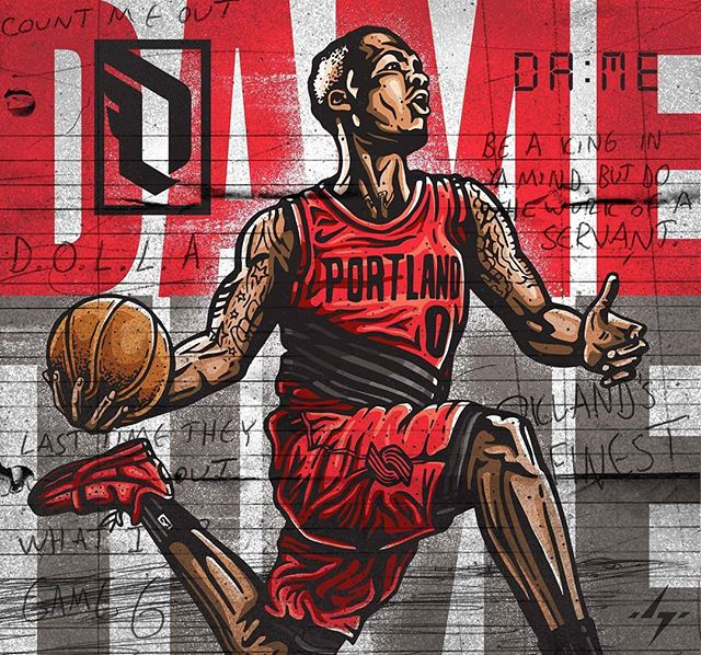Final Piece. #damianlillard is no doubt one of the most underrated players in the game, which is why I had to show him some love. . . #dametime #lillard #trailblazers #portlandtrailblazers #portland #portlandbasketball #portlandproud #dame #damedolla #blazers #lillard  #nbaart #blazersfan #illustration #illustrators #designinspiration #basketballart #streetartist #4barfriday #ballislife #ballerart #inking #ink #sharpieart #illustratorlife #adidas #adidasad #slamdunk #gamewinner