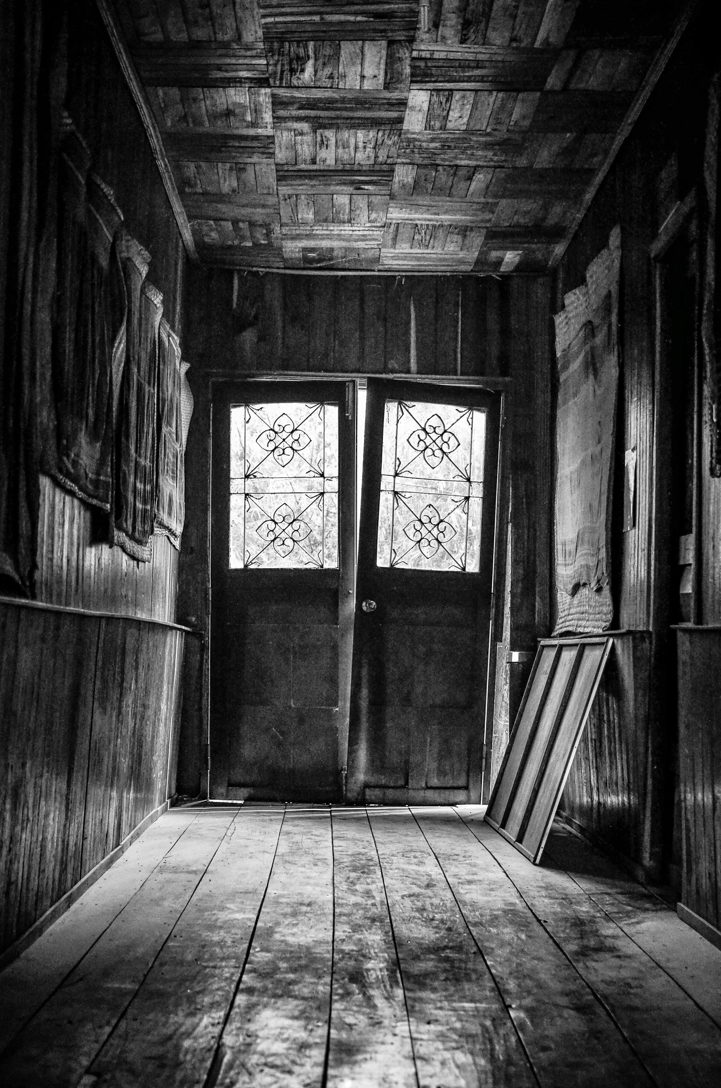 Door in abandoned building, Cambodia