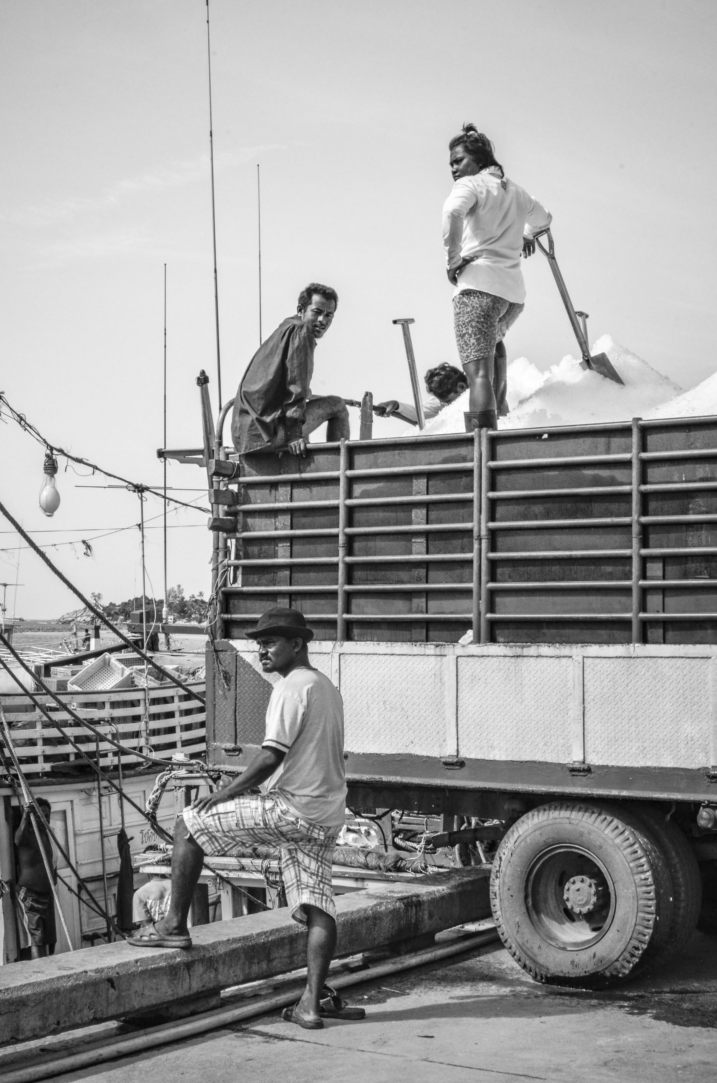 Ice truck and workers, Koh Phangan pier, Thailand