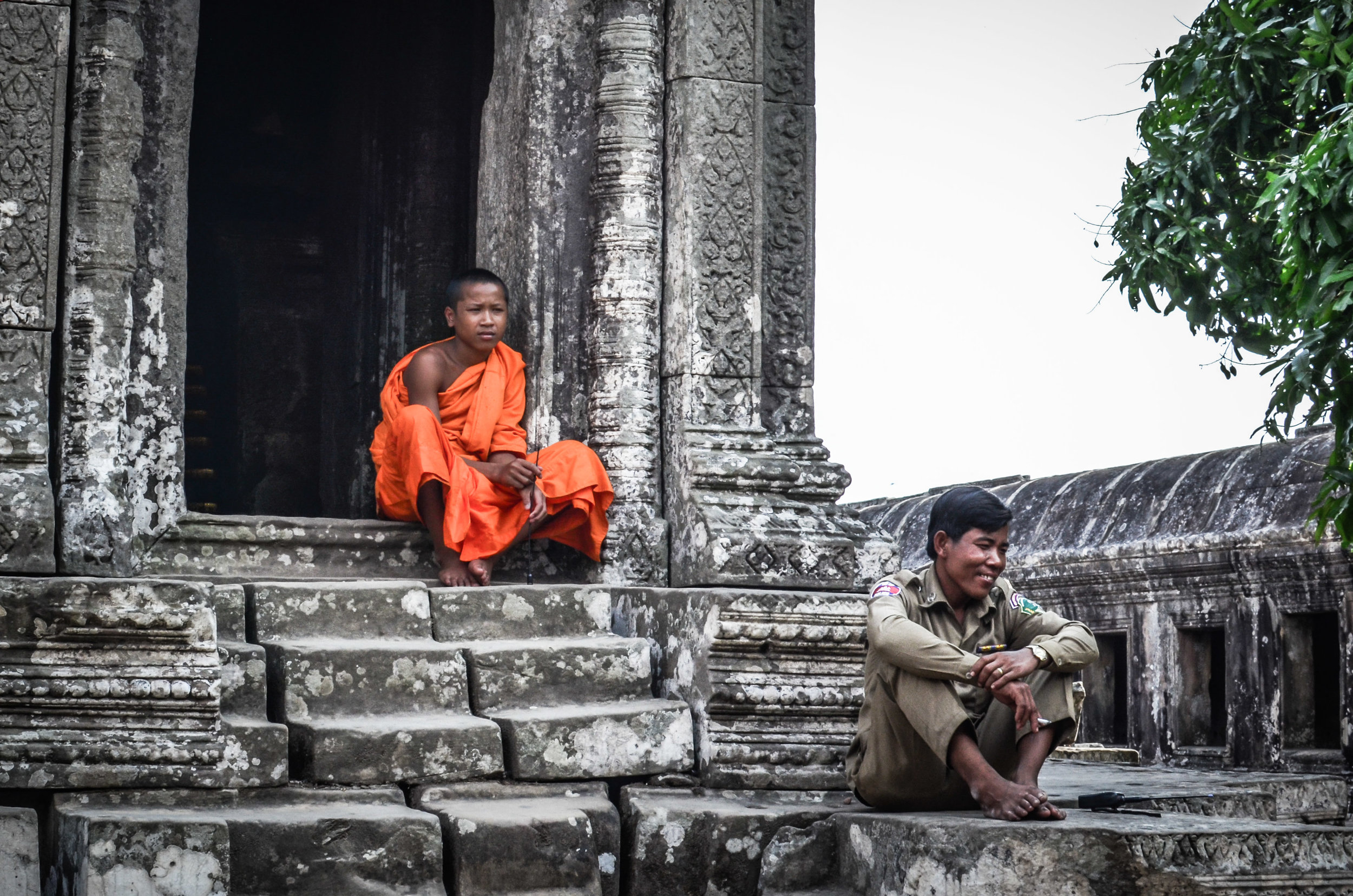 Monk and police officer, Preah Vihear Temple, Cambodia