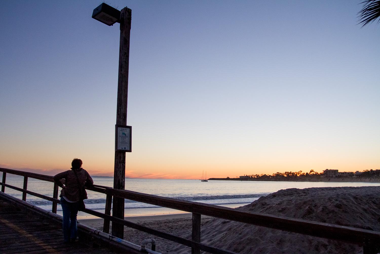 Goleta Pier Man Waling at Sunset