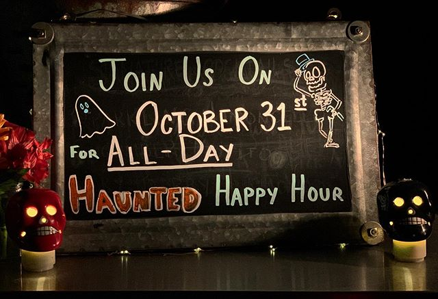 Join us for All Day HAUNTED Happy Hour this Halloween! 🦇 🎃 👻  Served in our oyster bar and lounge.