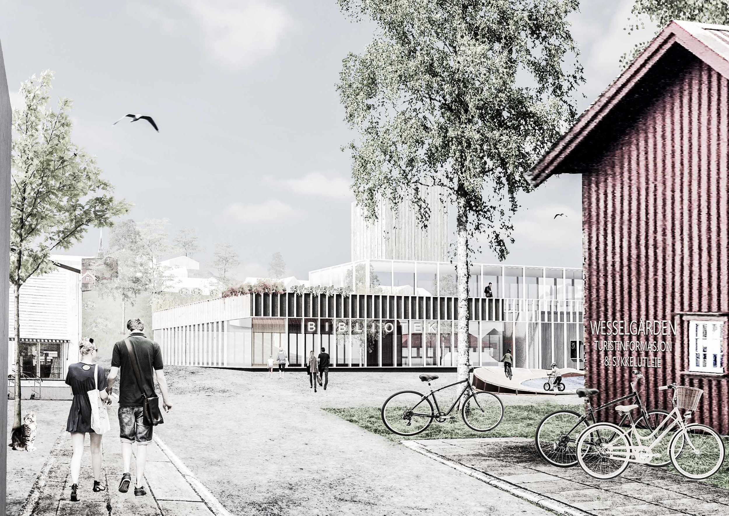 Forslag til et nytt biblioteksttilbygg ved Kulør'n.