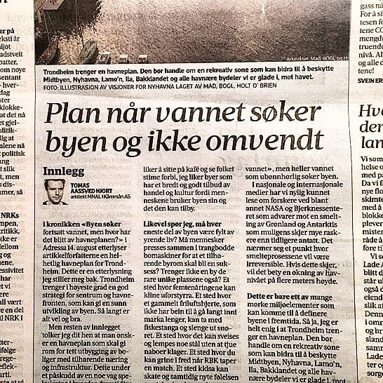 Tomas har skrevet et innlegg i @adresseavisen om viktige elementer i en evt. fremtidig havneplan for Trondheim og hvordan havna er en del av byens sjel. Link i bio. #debatt #arkitektur #stedsutvikling