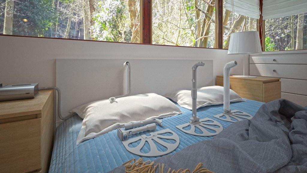 Varianter av SleepStick på seng, montert og pakket sammen.