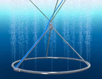 Over : En skisse som viser Midt Norsk Ringen med tilkoblet luft som flytter bedre vannkvalitet fra dypere lag opp i merden