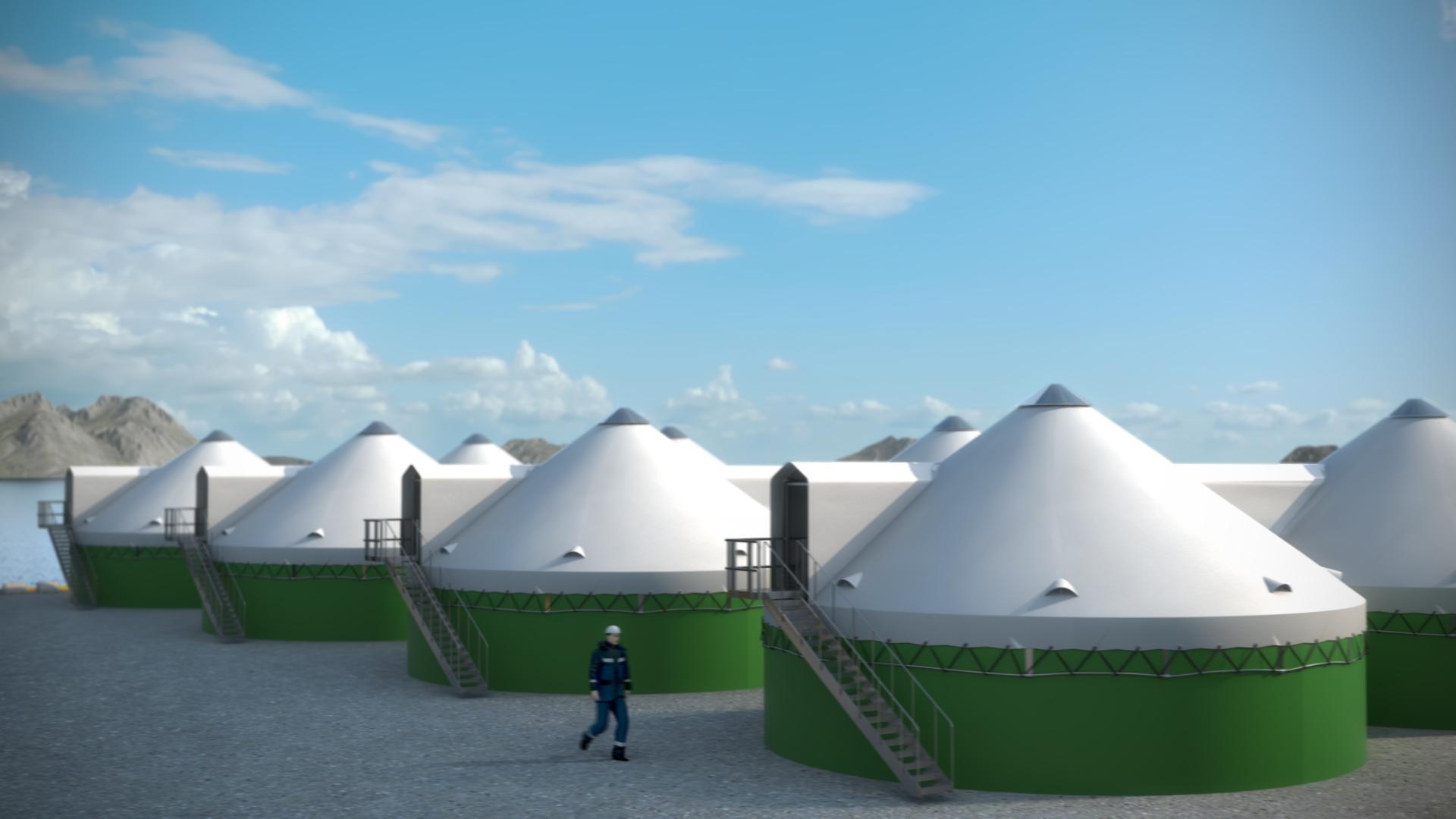 Med renseanlegget fra Blue Ocean Technology kan dagens landbaserte oppdrett øke biomassen i anlegget uten å overskride utslippsrensene i konsesjonen. Illustrasjon: Blue Ocean Technology/ Nagelld.no
