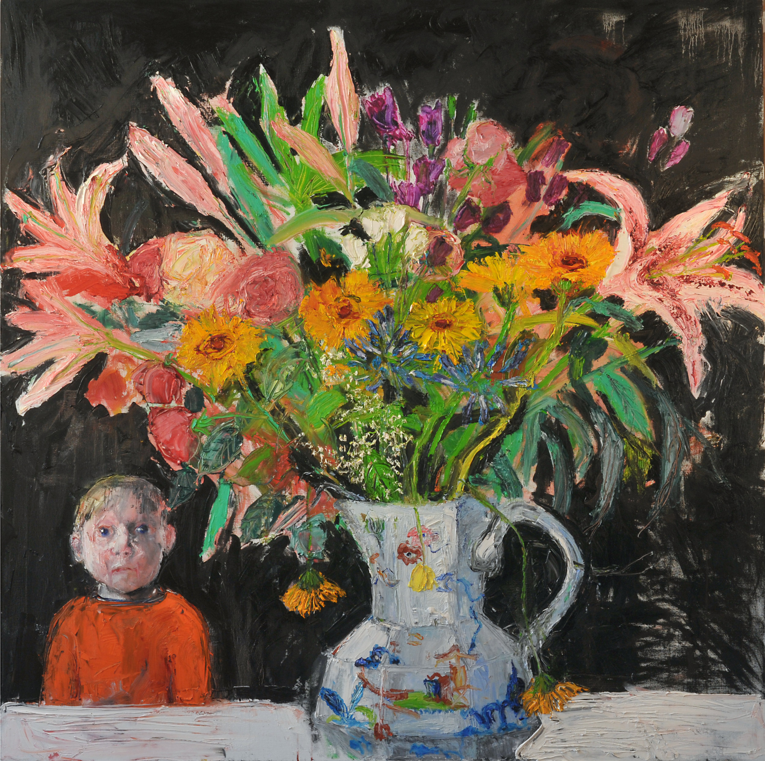 Boy and Bouquet 152x152cms oil on linen 2017