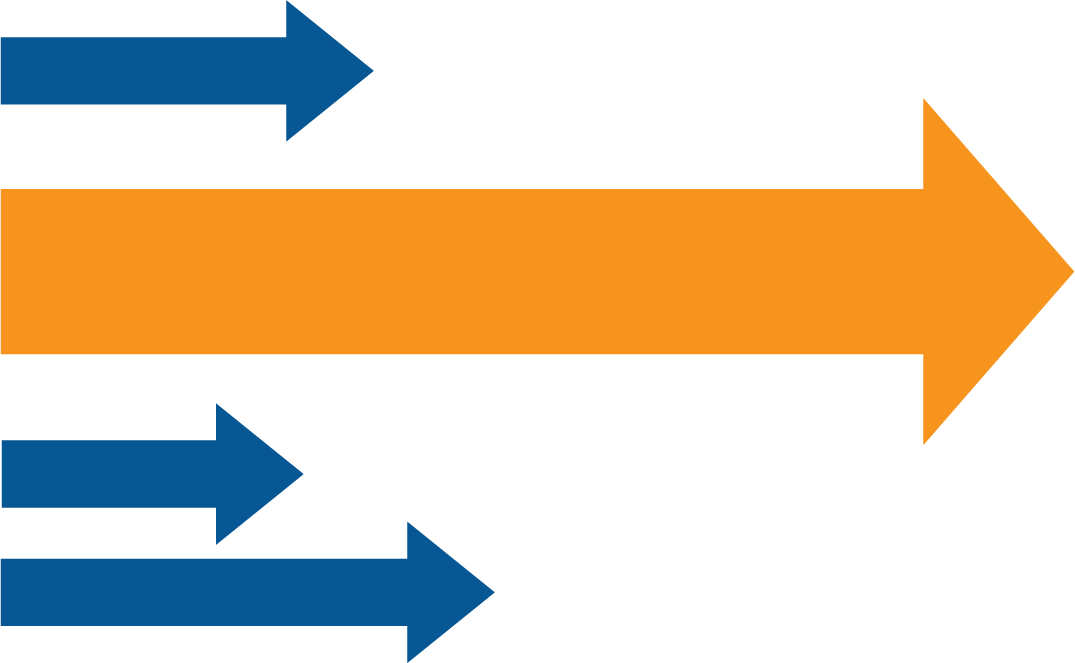Coloured arrows Leading more Effectively Graphic