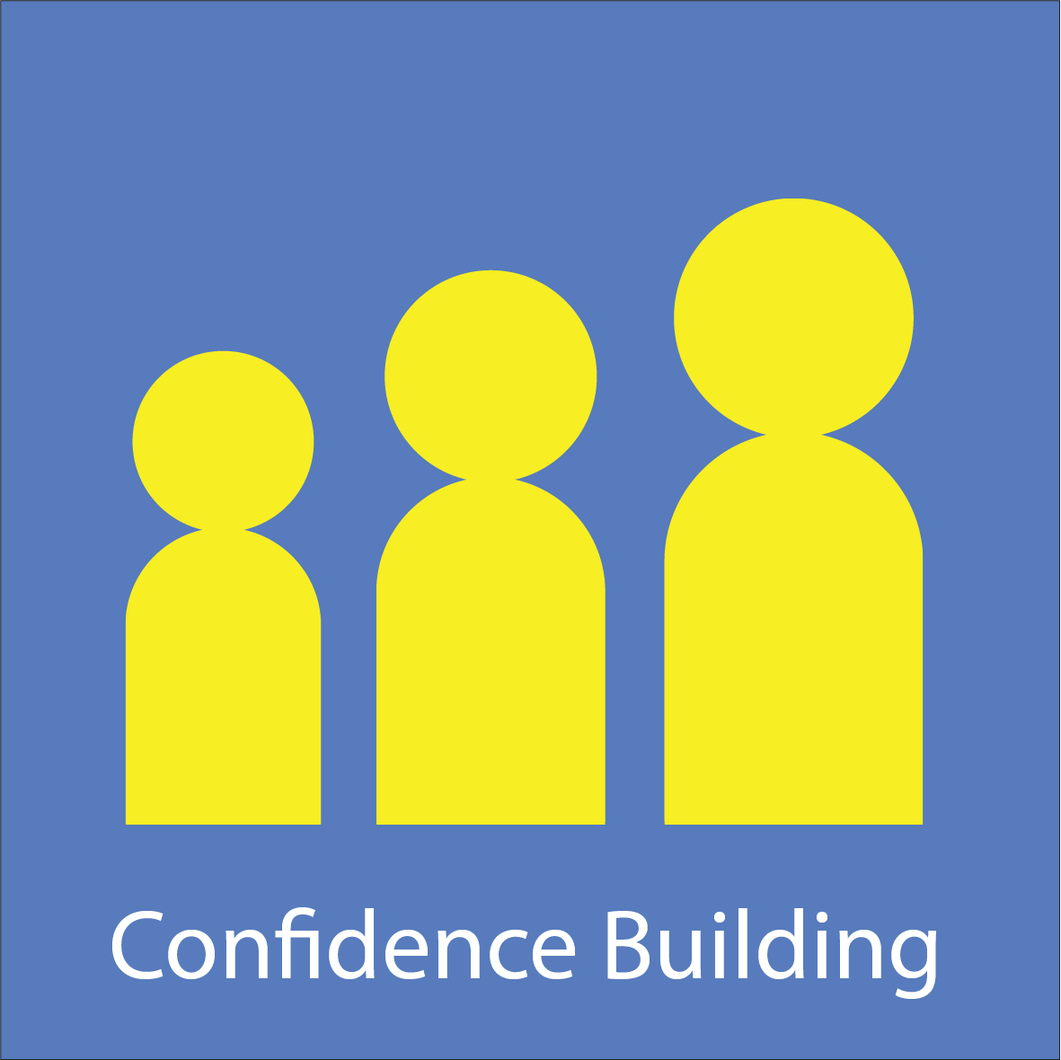 Graphic with three men for Confidence Building