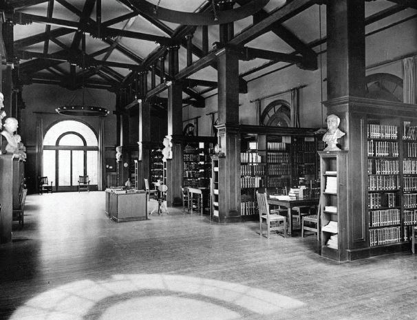 Archival photo of the Bender Room, designed by Julia Morgan, Mills College, Oakland, CA