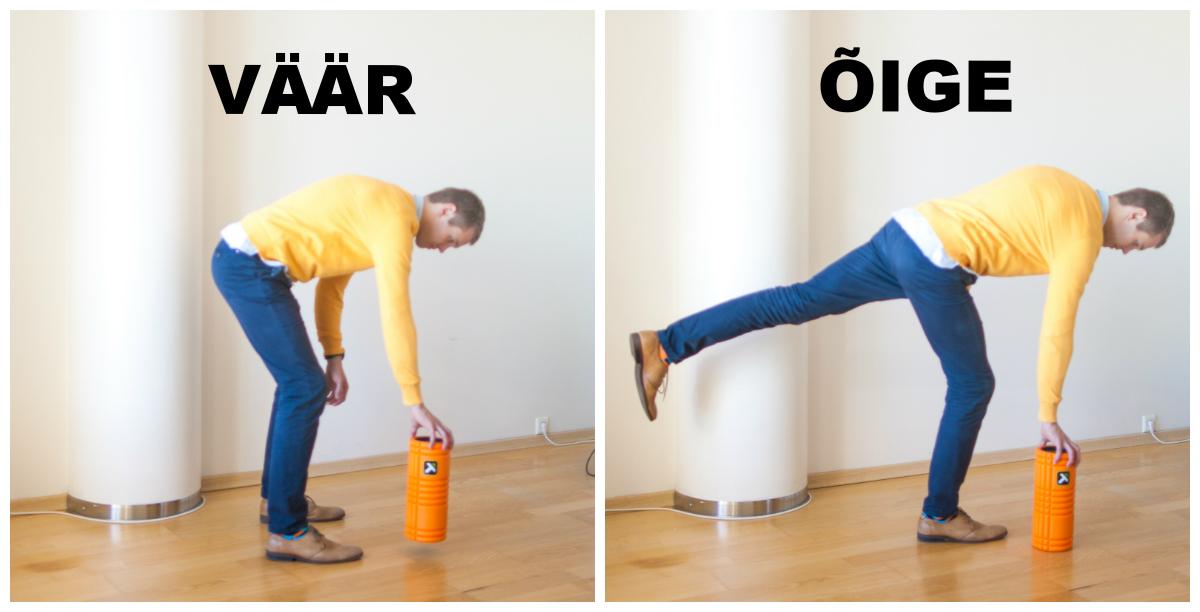 """paremal pildil demonstreeritud """"Golfer's lift"""" kergete objektide maast tõstmiseks."""