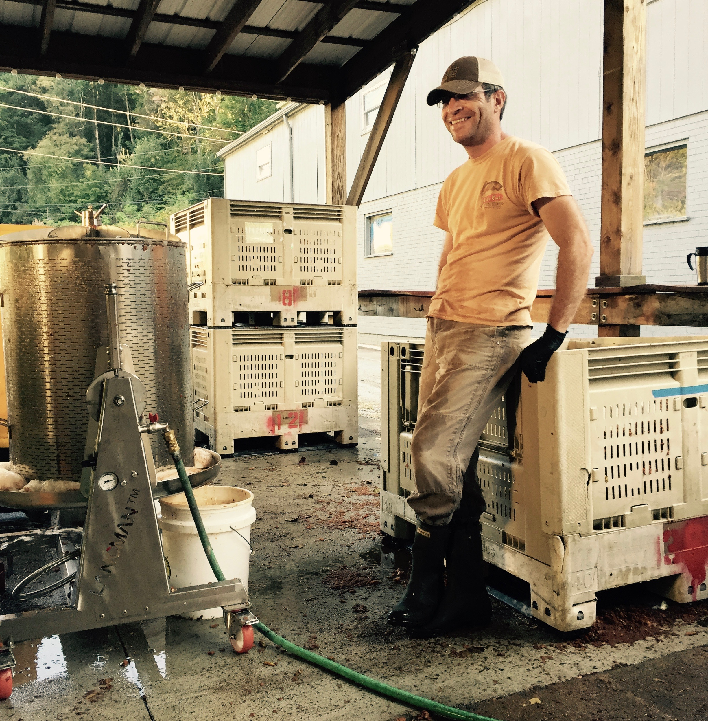 Pressing day at the cidery in Lansing, NC