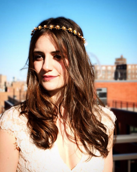 Our fierce model in our Celeste headpiece; bohemian and modern all at once.