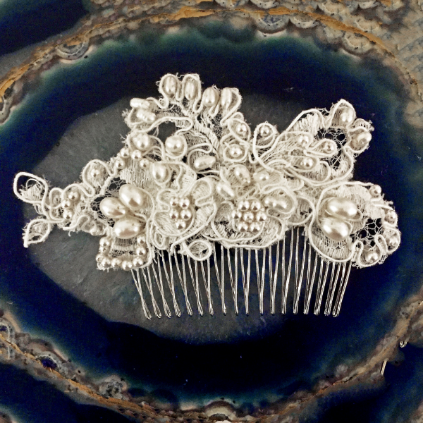 A comb made of lace from our bride's dress, prettied up with freshwater pearls.